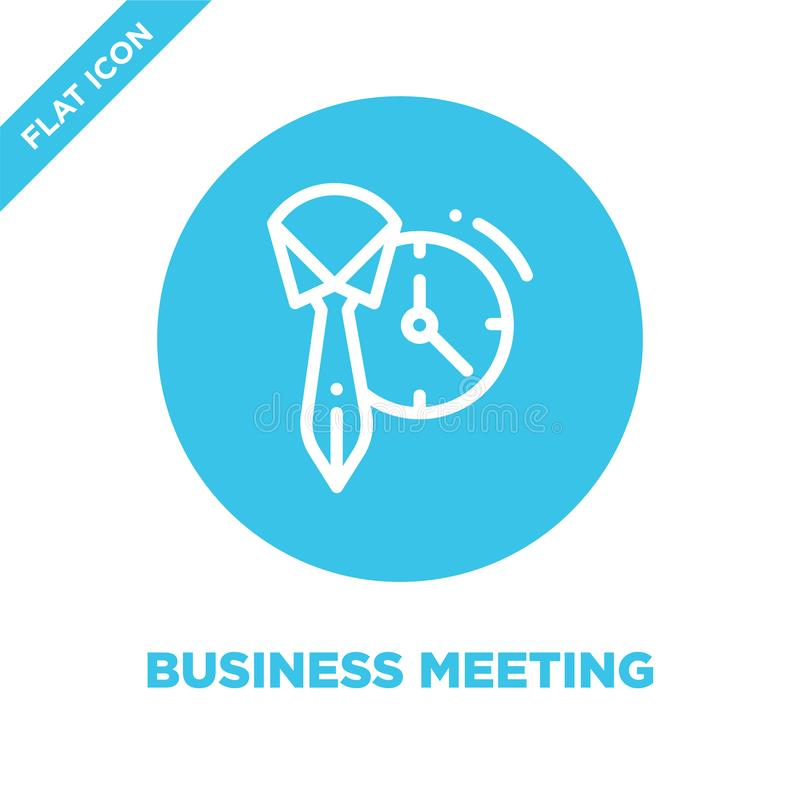 business meeting icon vector. Thin line business meeting outline icon vector illustration.business meeting symbol for use on web stock illustration