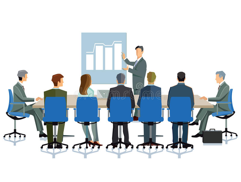 Business meeting. Illustration of company senior executives sitting around a large rectangular desk with a colleague showing on a blue board a graph or chart of stock illustration