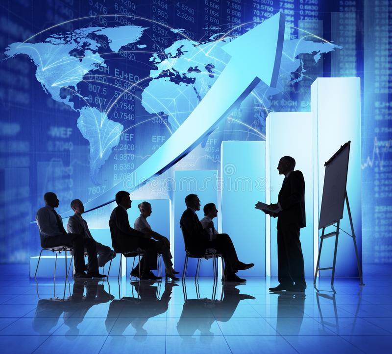 Business Meeting with increasing graph stock photos