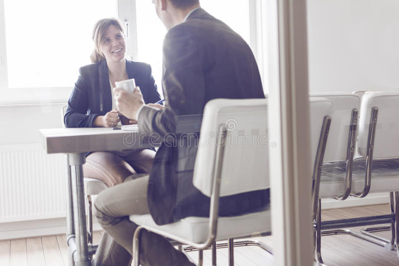 Business meeting or job interview stock image