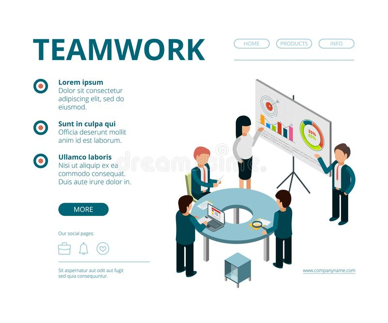Business meeting landing. Company managers financial director consultation management vector web pages template vector royalty free illustration