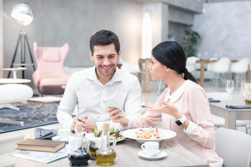 Business meeting in luxury restaurant stock photos