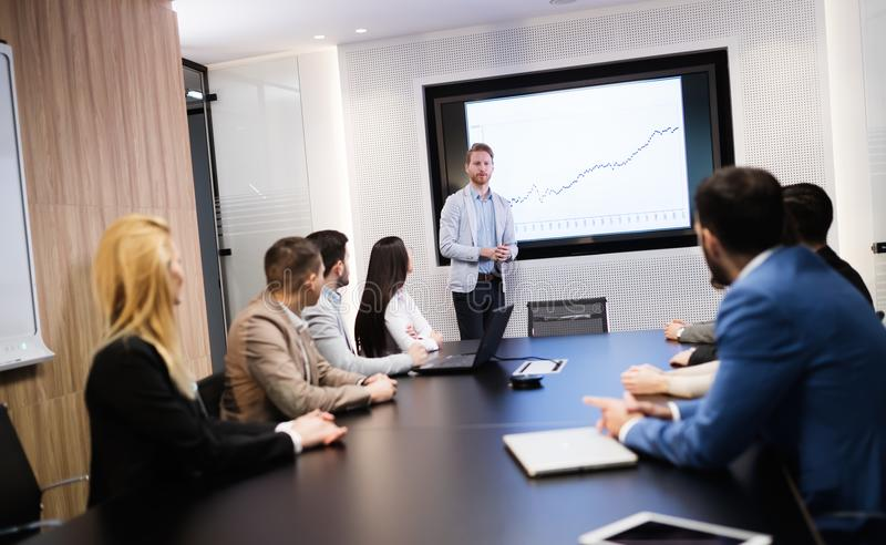 Business meeting in modern conference room royalty free stock photos