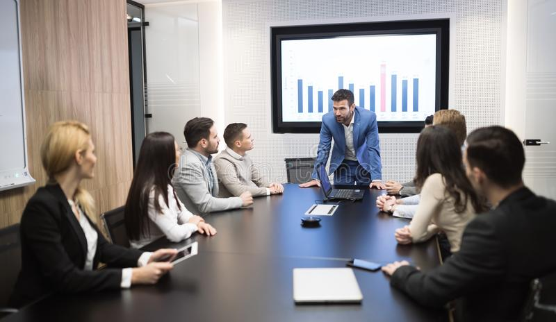 Business meeting in modern conference room stock photo