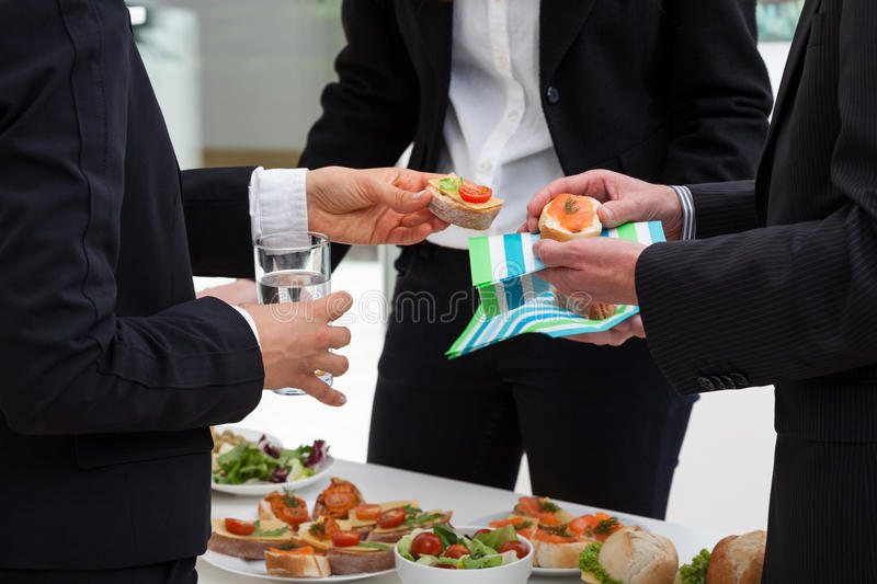 Business meeting in the morning. Business people are meeting with breakfast in the morning to discussion royalty free stock images