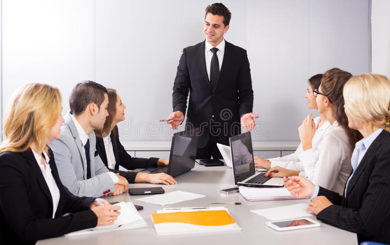 Business meeting of multinational managing team royalty free stock images