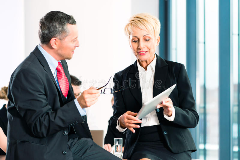 Business - meeting in office, senior managers royalty free stock images