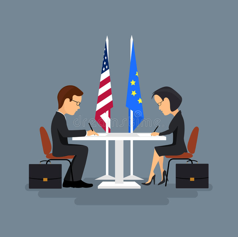 Business meeting of politicians,signing of agreements. On the image is presented Business meeting of politicians,signing of agreements.Flat style stock illustration