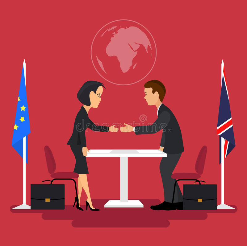 Business meeting of politicians,signing of agreements. On the image is presented Business meeting of politicians,signing of agreements.Flat style royalty free illustration