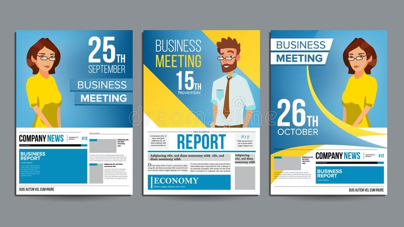 Business Meeting Poster Set Vector. Businessman And Business Woman. Invitation And Date. Conference Template. A4 Size royalty free illustration