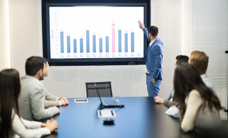 Business meeting in modern conference room. Business meeting and presentation in modern conference room for colleagues royalty free stock image
