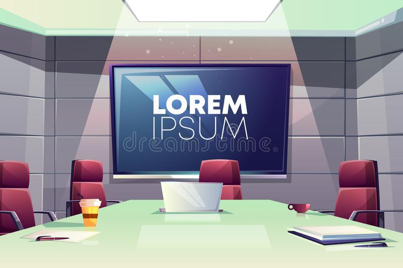 Business meeting room in office cartoon vector. Business meeting or conference room interior cartoon vector illustration with comfortable armchairs, laptop on royalty free illustration