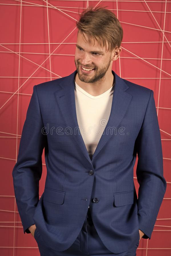 Business meeting. sexy man in stylish jacket. Business fashion and dress code. confident businessman in suit. Businessman. Happy man. Feel the success. Male royalty free stock photo