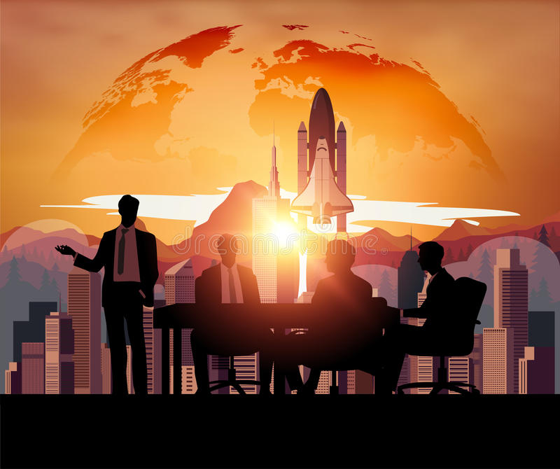 Business meeting with Space Shuttle vector illustration