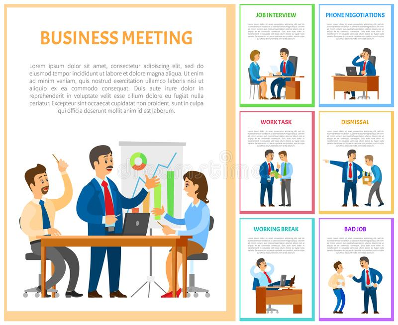 Business Meeting of Team in Office, Employment vector illustration