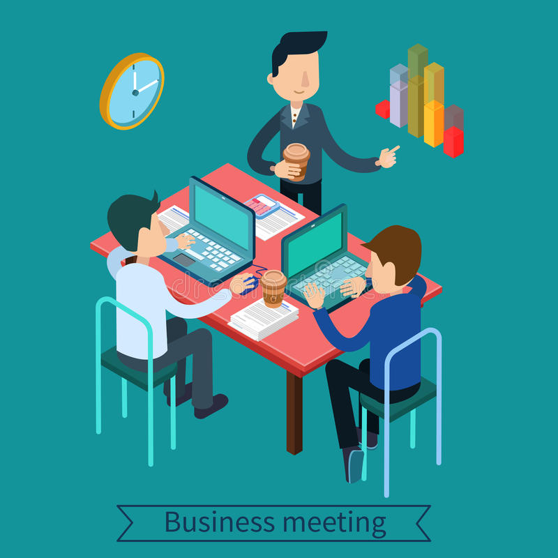 Business Meeting and Teamworking Isometric Concept royalty free illustration