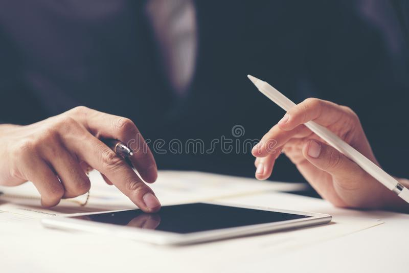 Business meeting time. Photo young account managers crew working royalty free stock photos