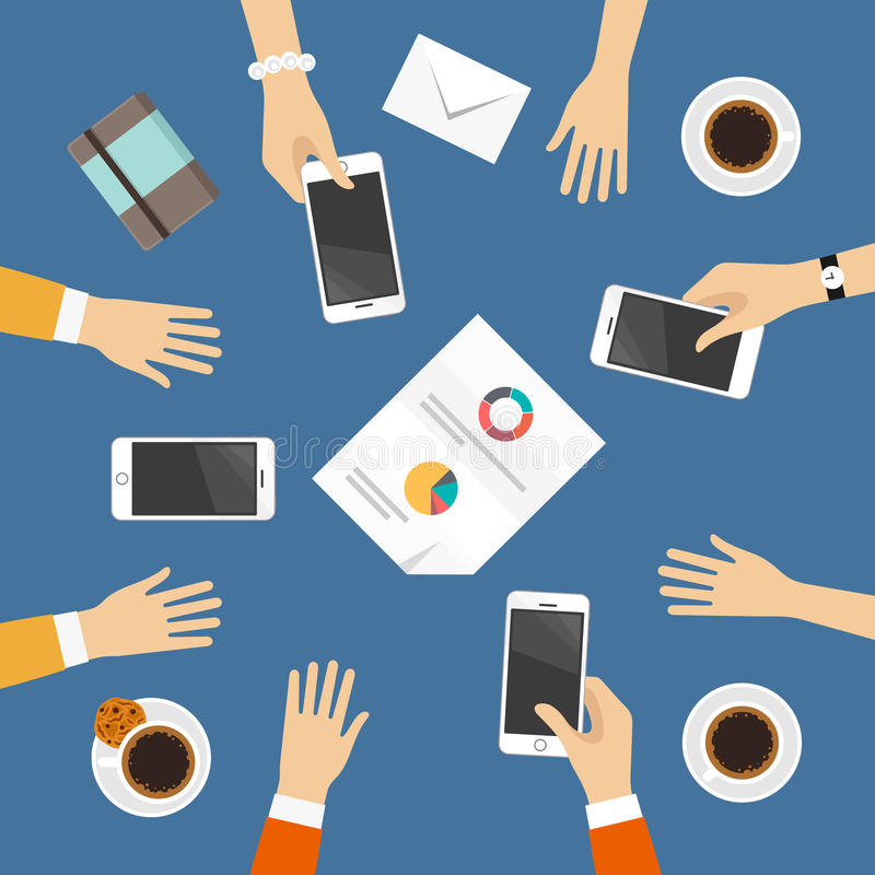 Business meeting top view. Table top view with hands, phones, coffee and business papers stock illustration