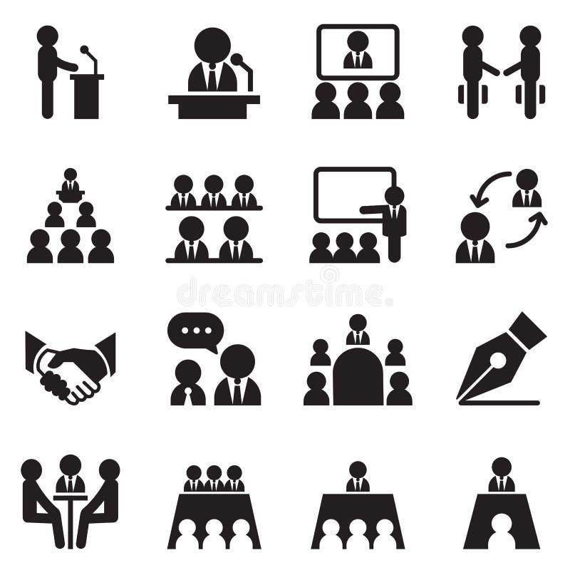 Business Meeting, Training, Seminar, Interview, Conference icon. Business Meeting, Training, Seminar, Interview, Conference, Recruitment icons set Vector royalty free illustration