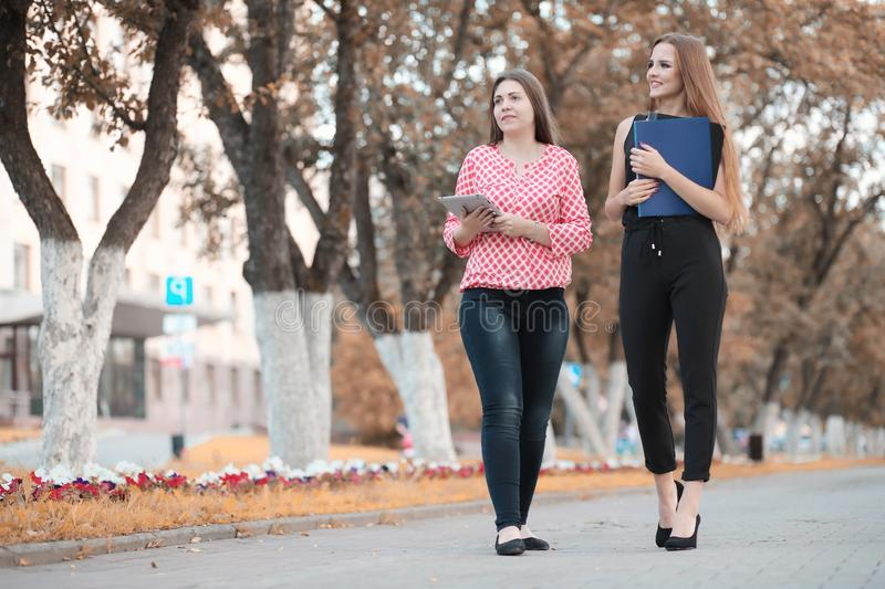 Business meeting of two girls stock images