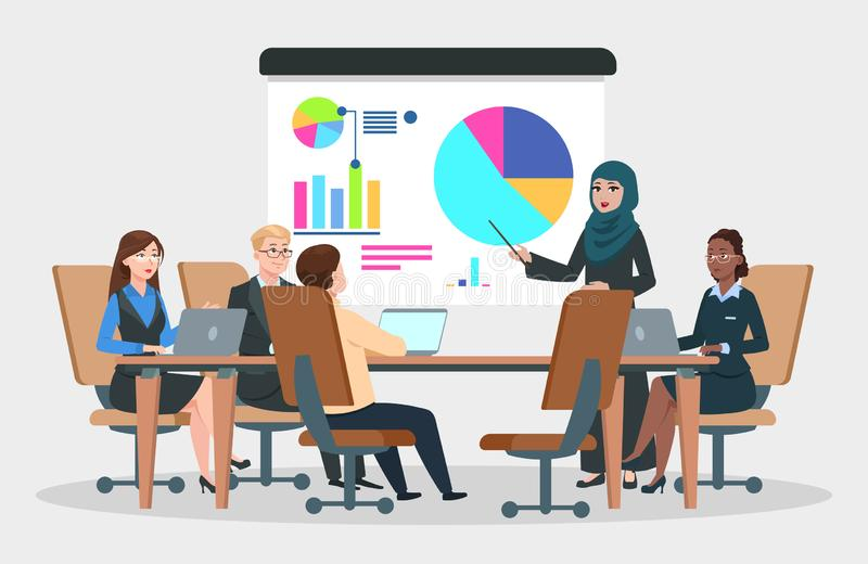 Business meeting vector. Arab businesswoman at project strategy infographic. Team seminar, presentation conference royalty free illustration