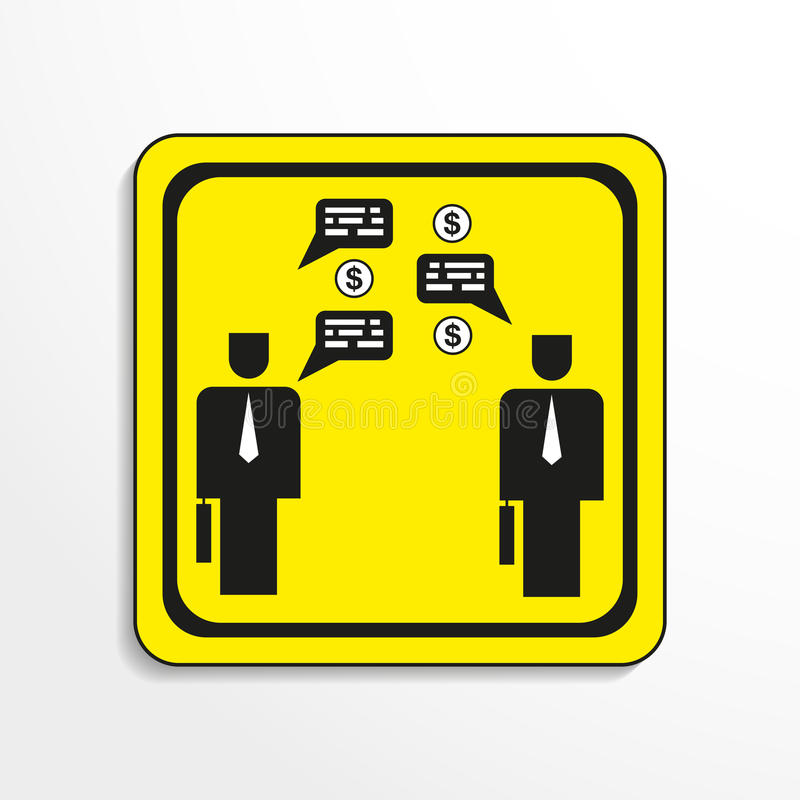 Business meeting. Vector icon. Black-and-white object on a yellow background. Black-and-white object on a yellow background. Vector icon vector illustration