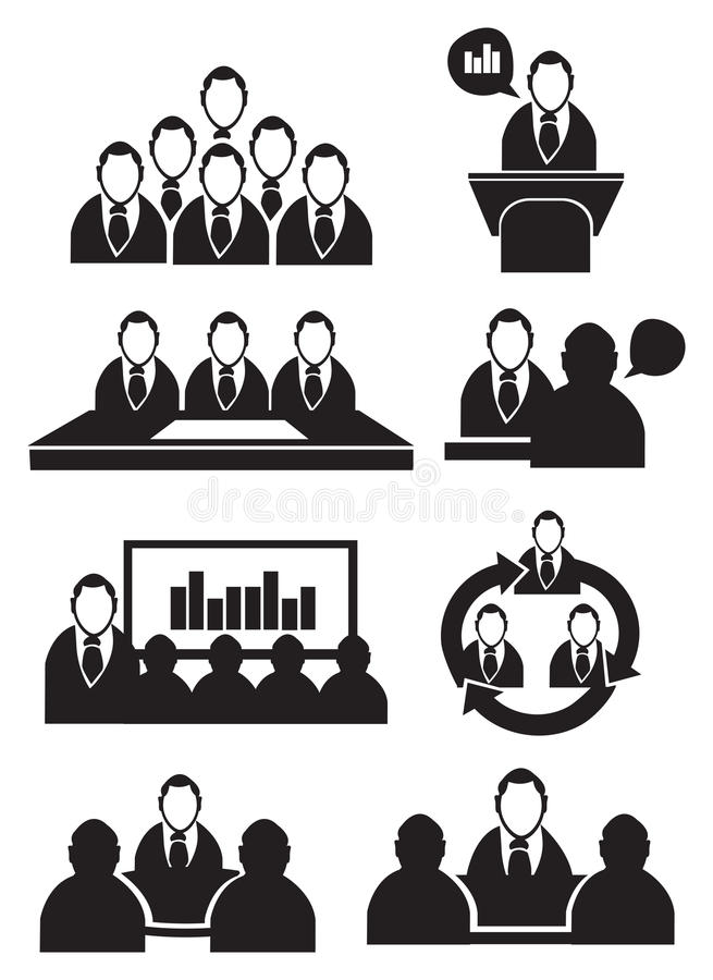 business meeting icon set stock vector  illustration of