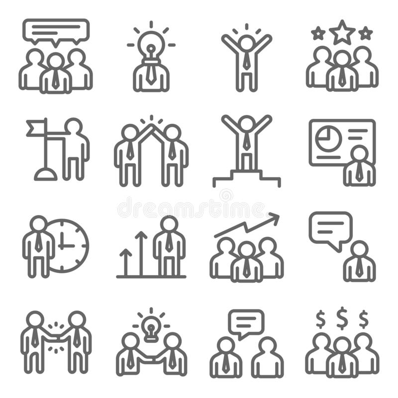 Business Meeting Vector Line Icon Set. Contains such Icons as Agenda, Finance, Management, Planning, Presentation and more. Expand. Ed Stroke royalty free illustration