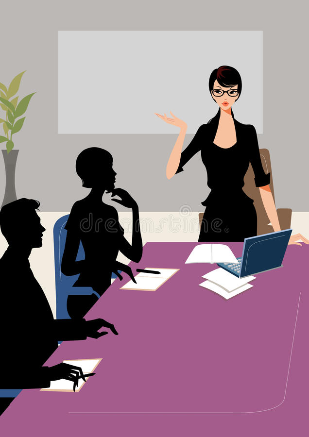Business meeting woman communication colleages vector illustration