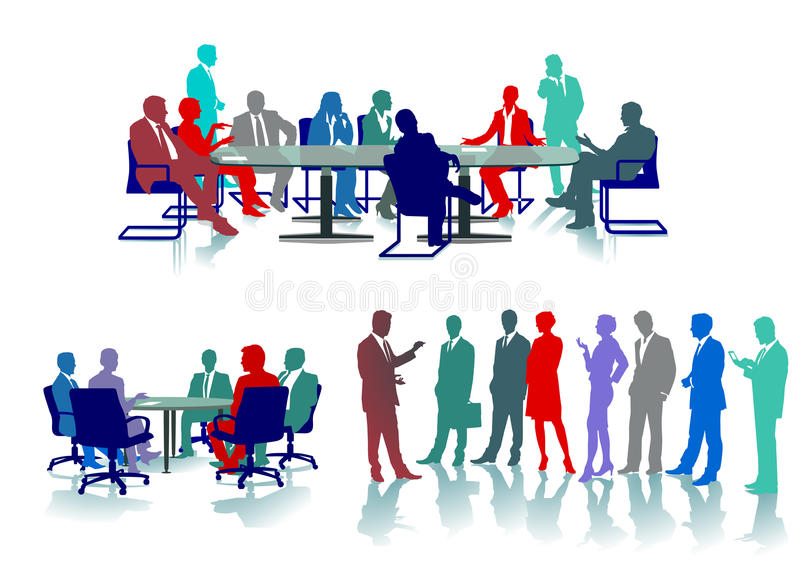 Business meetings. Colorful illustrations of academics and business people meeting around a long table in one case and standing while talking in the other, white stock illustration