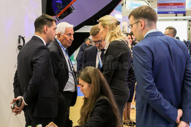 Business meetings at an industrial exhibition stock image