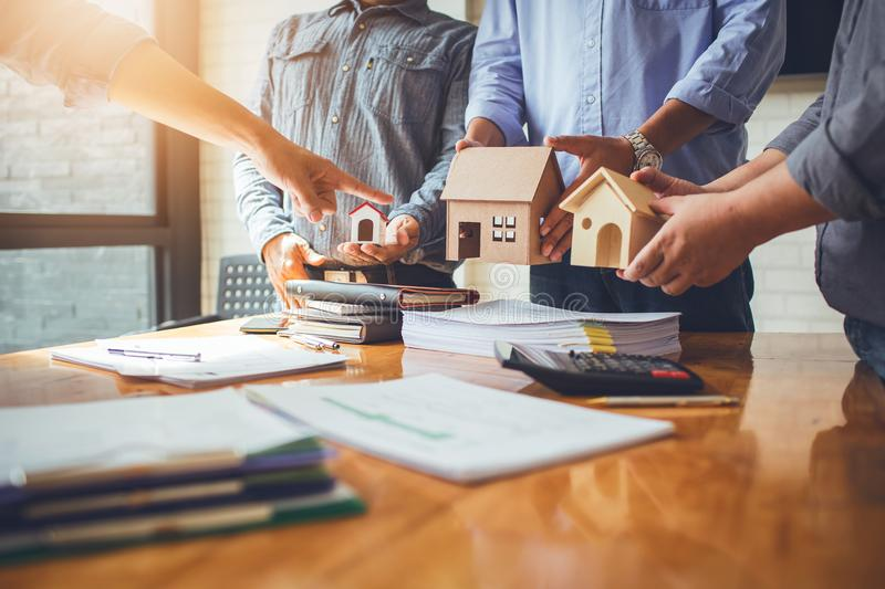 Business meetings of real estate brokers. And company presidents to select a model to build a housing estate in writing and presenting to state organizations stock photography