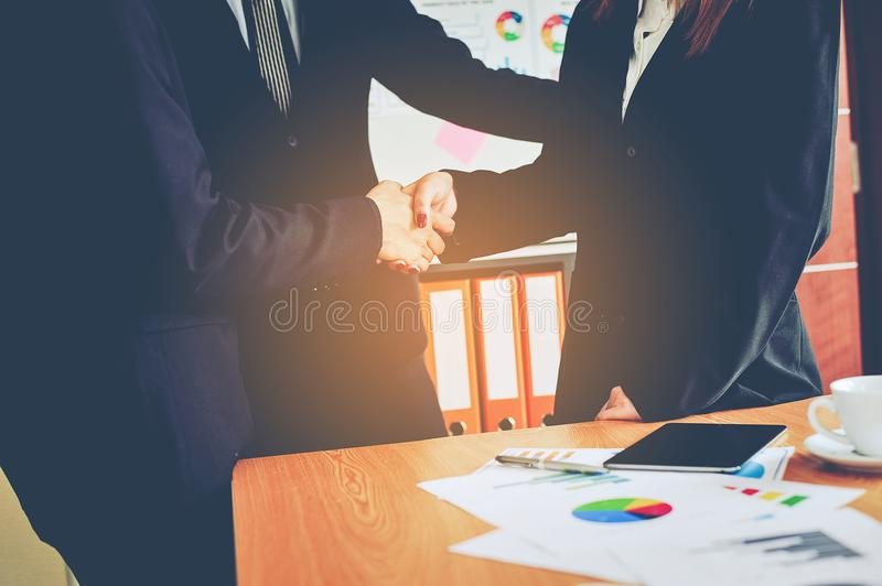 Business and meetings and work unity. To work effectively teamwork Doing business on the desk Business Ideas stock images