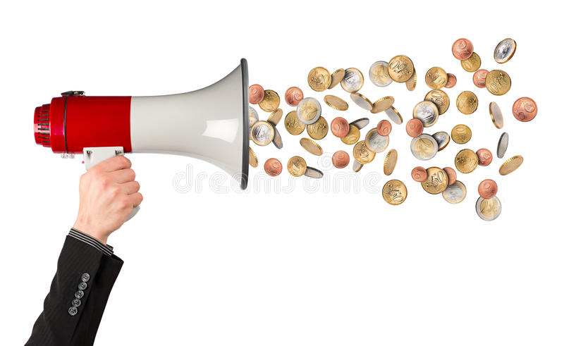 Business megaphone money rain concept. Cash money euro rain businessman hand in suite with red white bullhorn megaphone isolated background royalty free stock photo
