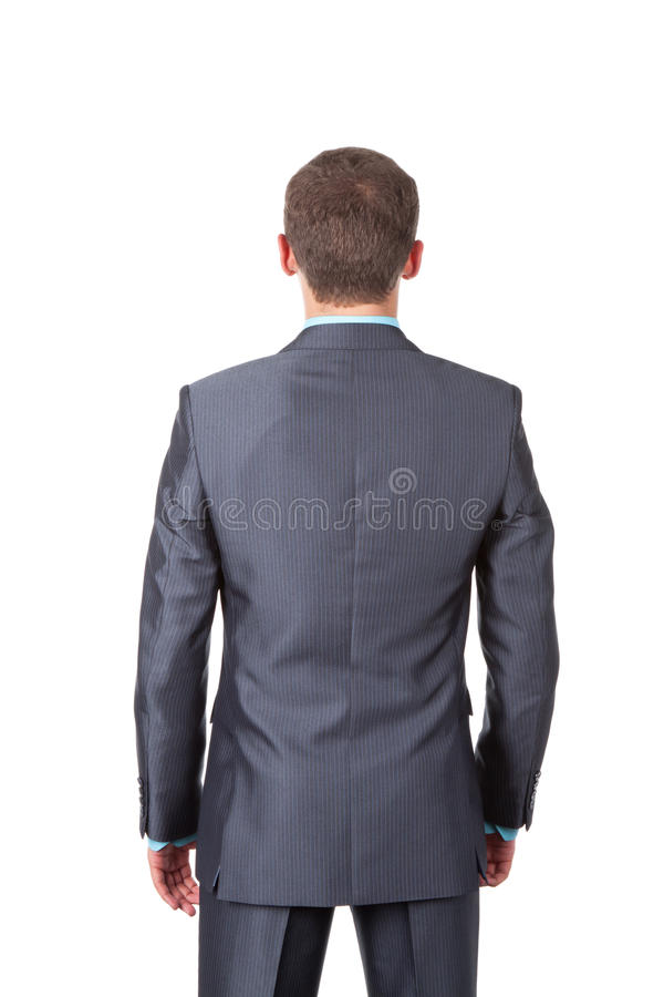 Business men. Business man back stannding over white background royalty free stock photo