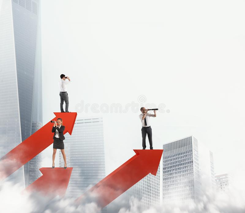 Business men on arrows statistics looking for business. 3D Rendering stock photos