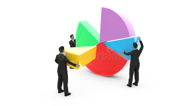 Business men assembling a pie chart. Business men are assembling a pie chart. Everyone contributes to the development of graphic data royalty free illustration