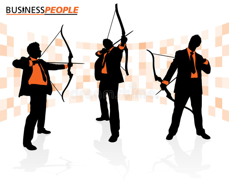Business Men With Bows And Arrows Royalty Free Stock Photos