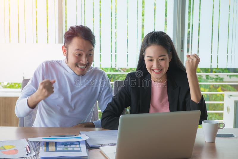 Business man and business woman working the job to success in of stock images
