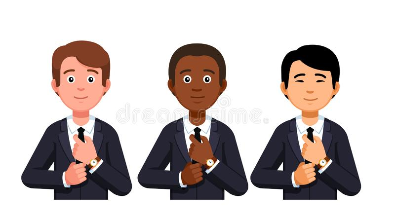 Business men, diverse ethnic company people team. Three multi-ethnic business men portraits. Company people, caucasian, African American and Asian. Diverse vector illustration