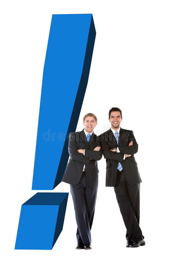 Business men with an exclamation mark