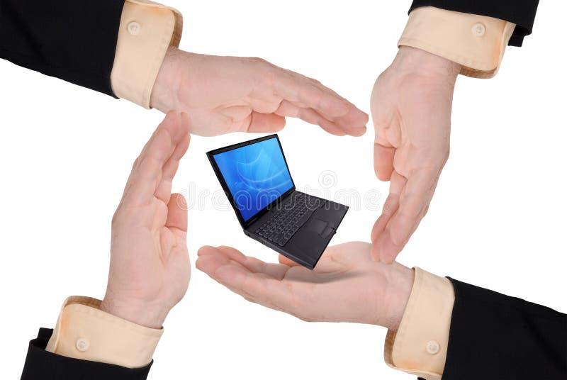 Business men holding a laptop vector illustration