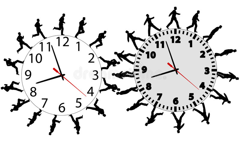Download Business Men In A Hurry Run & Walk On Time Clocks Royalty Free Stock Photos - Image: 5429978