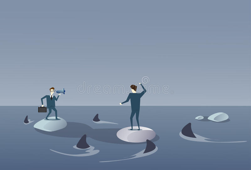 Business Men On Islands In Sea Water With Sharks Around Concept Financial Crisis. Flat Vector Illustration vector illustration