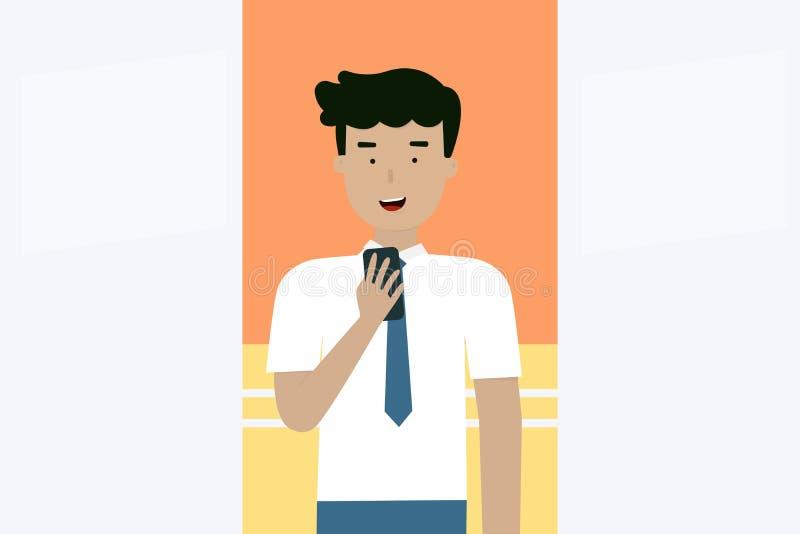 Business Men look at mobile phone, flat animation design. stock illustration
