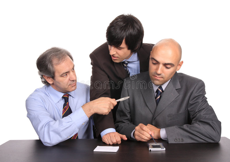 Business men on a meeting. Isolated on white - studio shot stock image