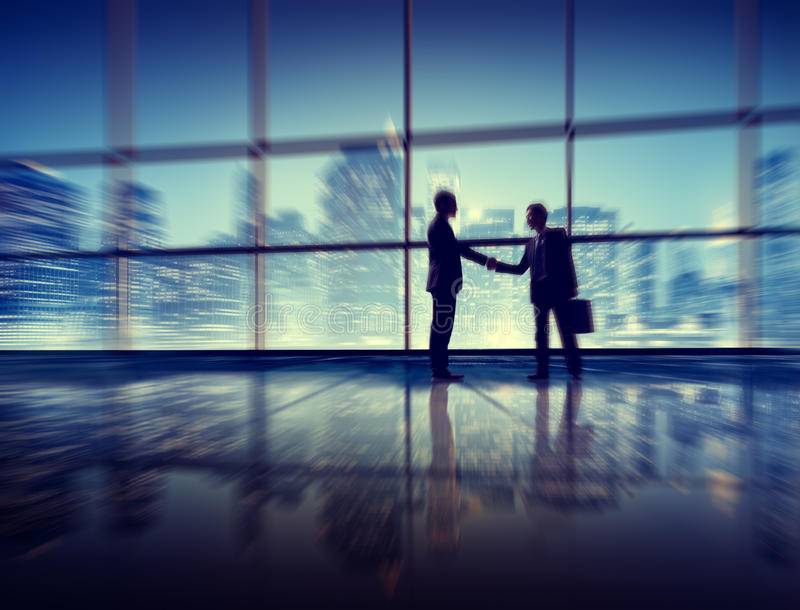 Business Men People Handshake Silhouette Concept royalty free stock image