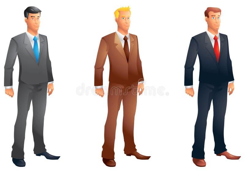 Business men posing set. Isolated vector illustration