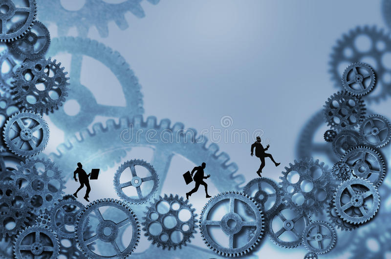 Business men running on gears. Three silhouettes of business men carrying briefcases are caught in the cogs and gears of the business world