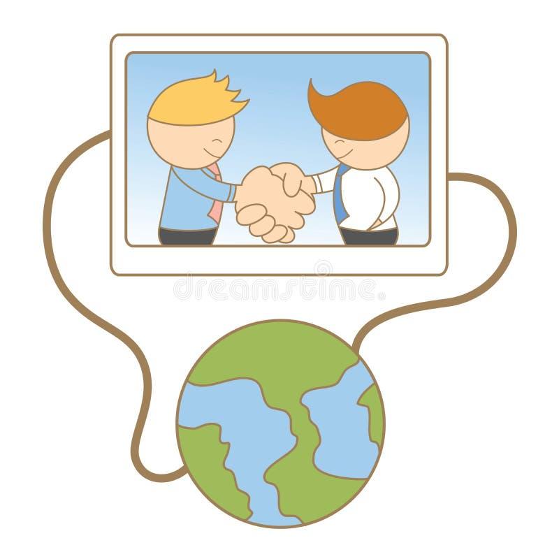 Business men shaking hand online. Cartoon character of business men shaking hand online stock illustration